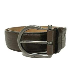 Y-1422119 New Salvatore Ferragamo Brown Leather Buckle Belt Size 80/32 Fits 30