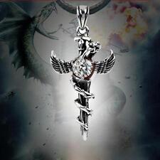 Applied Titanium Steel Pendant Necklace Angel's Wings Snake Cross