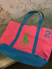 Ralph Lauren Polo Pony Large Pink / Green Bag Tote Shopper Beach Canvas Unused
