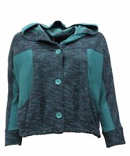KEKOO WOMEN COTTON WEAVE HOODED BUTTONED SHORT JACKET TURQUOISE BLUE SIZE 1 NWT
