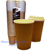 80 x 12oz Ripple Effect Insulated Premium Chinet Coffee Cups and Lids