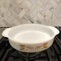 Vintage Fire King Anchor Hocking Golden Wheat Casserole Round  #450 1 Qt  8""