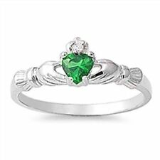 Emerald Silver Plated Band Fashion Rings