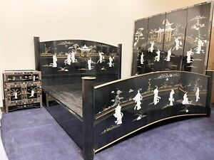 king size oriental black lacquer furniture bed with two end table