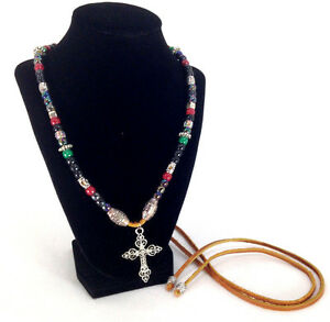 Handcrafted Leather Beaded Necklace With Cross Pendant Bohemian Hippie Style