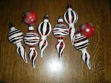 8 Christmas ornaments drop peppermint stripe star burst red white glitter Nice