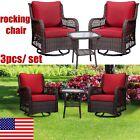 3pcs Swivel Rocker Patio Garden Furniture Set Sectional Sofa Rattan Chair Wicker