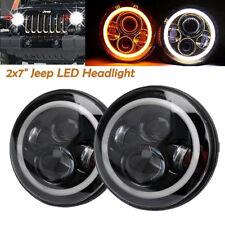 2x 7 Inch Round LED Headlights Halo Angle Eyes Hi/Low For Jeep Wrangler JK LJ TJ