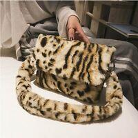 Winter Faux Fur Leopard Print Women Fashion Crossbody Shoulder Tote Handbag Bag