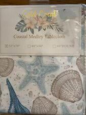 "Fabric Tablecloth Nautical Shells Starfish 52x70"" Rectangle White Teal Tan NIP"