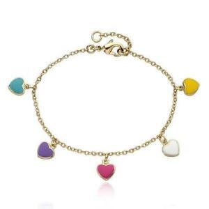Little Miss Twin Stars 14K Gold Plated Enamel Multi-Color Hearts Charm Bracelet