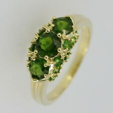 Genuine Natural Russian Green Chrome Diopside Sterling Silver Cocktail Ring