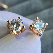4Ct Round Cut Moissanite Diamond Solitaire Stud Earrings 14K Rose Gold Finish