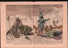 North Pole Mission Russia Koltchak Dogs Husky Expedition Toll 1905 ILLUSTRATION