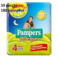 10 PAQUETS COUCHES PAMPERS SOLEIL ET LUNE TAILLE 4 MAXI 7-18 KG 180 PANN