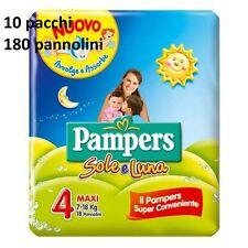 10 PACCHI PANNOLINI PAMPERS SOLE E LUNA SOLE LUNA TAGLIA 4 MAXI 7-18 KG 180 PANN