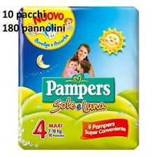 10 PAQUETS COUCHES PAMPERS SOLEIL ET LUNE TAILLE 4 MAXI 7-18 KG 180 PANN