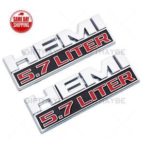 2pcs Hemi 5.7 LITER Side Fender Emblem Badges 3D Decal for RAM 1500 Chrome Red