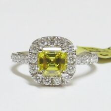 18ct WHITE GOLD CANARY FANCY YELLOW  ASSCHER CUT DIAMOND ENGAGEMENT RING 1.68ct