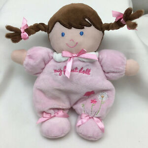 """My First Doll Baby Pink Brown Hair Rattle Carters Child Of Mine Plush 8"""" Lovey"""