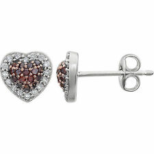 Brown Diamond Heart Earrings In 14K White Gold (1/4 ct. tw.)