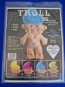 "Vtg TROLL DOLL Good Luck Soft Sculpture Sealed Make it 14"" Kit Blue Hair NIP"