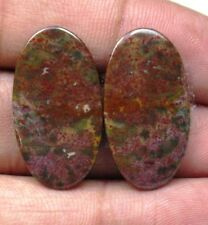 NATURAL BLOOD STONE CABOCHON OVAL SHAPE PAIR 21.55 CTS LOOSE GEMSTONE D 5832