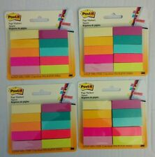 """4PACKS Post-it Page Markers, 1/2""""x1 3/4"""", Assorted Bright Colors, 50 Sheets/Pad"""