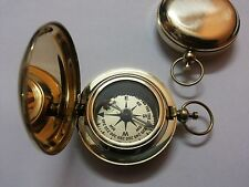 Brass Push Button Compass Marine For Collectible And Vintage Decor