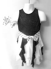 NEW!    GORGEOUS BLACK/WHITE DANCE BALLET PAGEANT COSTUME ~ SMALL CHILD