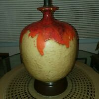 Mid Century Modern Thick Orange Lava Drip Glaze Lamp