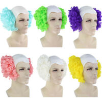 Colorful Men's Creepy Evil Overhead Circus Killer Clown Cos Bald Head Curly Wig