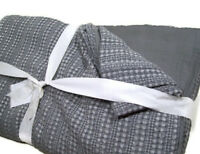 Pottery Barn Gray Honey Comb Cotton Full Queen Duvet Cover 2 Standard Shams New