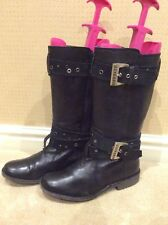 BLACK LEATHER BIKER STYLE BOOTS by MISS SIXTY/SIZE 5