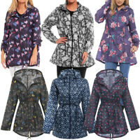 Womens Printed Mac Rain Jacket Kagoul Festival Parka Mac Coat Size