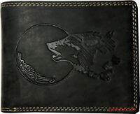 Hochwertige Geldbörse Geldbeutel Portemonnaie Leder Wild Wolf Mond geprägt