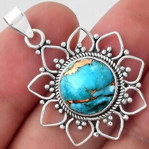 Natural Copper Blue Turquoise - Arizona 925 Sterling Silver Pendant Jewelry E023