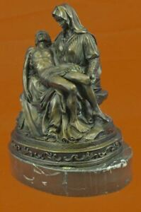 LARGE European Bronze Figurine Religious Michelangelo Pieta Jesus Mary Figurine