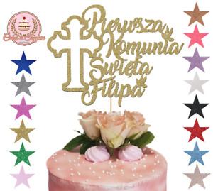 Pierwsza Komunia Swieta, Glitter Cake Topper, Any Name