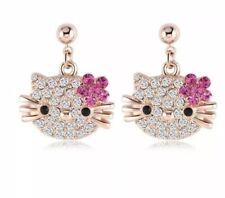 Hello Kitty Cat  Rose Gold  Austrian Crystal CZ Rose Earrings Dangle
