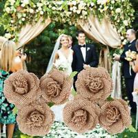 Rustic Hessian Jute Burlap Flower Handmade Burlap Rose Wedding Birthday Decor