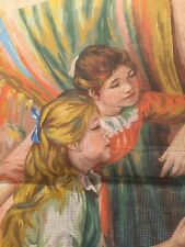 ROYAL PARIS New Vintage Needlepoint Tapestry Canvas Girls at Piano 21x 26 3/4