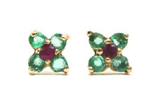 9ct Gold Emerald and Ruby studs Cluster Earrings Gift Boxed Made in UK