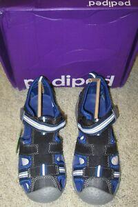 PEDIPED NIB Boys Size 1 US 32 EU Black Blue Sport Athletic Sahara Sandals NEW