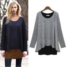 Womens Pullover Sweater Jumper Sweatshirt Ladies Ruffle Blouse T-Shirt Plus Size