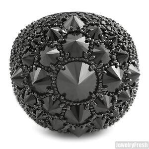 Black Finish Fully Iced Jumbo Spiky Stones Jumbo CZ Fashion Ring
