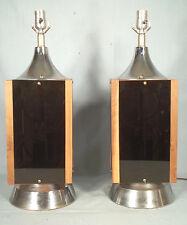 STYLISH PAIR OF MID CENTURY ART MODERN BLACK  PLEXIGLASS+CHROME LAMPS