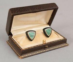 Vintage Art Modern 14kt Yellow Gold Stud Earrings Malachite & Onyx Stone NR