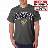 US NAVY LOGO T-SHIRT CHARCOAL United States Shirt USNAVY Tshirt U.S. Military