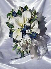 SILK FLOWER BRIDAL WEDDING BOUQUET  WHITE LILIES, Navy, Silver 15 PC 2 DAY Sale